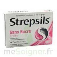 STREPSILS FRAISE SANS SUCRE, pastille édulcorée à l'isomalt, au maltitol et à la saccharine sodique à BIGANOS