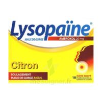 LYSOPAÏNE MAUX DE GORGE AMBROXOL CITRON 20 mg SANS SUCRE, pastille édulcorée au sorbitol et au sucralose à BIGANOS