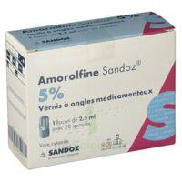 Amorolfine Sandoz 5 % V Ongles Médicamenteux Fl/2,5ml+20spatules à BIGANOS